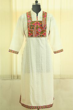 Enhance your look with this beautiful chikan off white formal kutch embroidery long kirti.