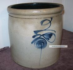 Antique Primitive Salt Glaze 2 Gallon Cobalt Blue Bee Sting Crock Exc Cond Photos and Information in AncientPoint Antique Crocks, Old Crocks, Antique Stoneware, Stoneware Crocks, Primitive Antiques, Stoneware Clay, Primitive Decor, Glazed Pottery, Glazes For Pottery