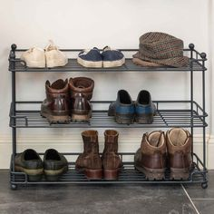 Our new 3 Tier Shoe Rack is the ideal storage solution for shoes, boots, hats, gloves and scarves available in a contemporary anthracite finish or more traditional matt black.