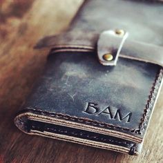 Personalized Handmade Leather Wallet by JooJoobs. This listing (006) is designed to carry your iPhone 6 along with credit cards and cash.