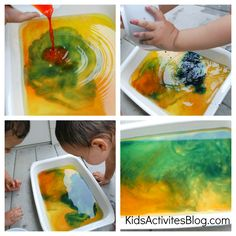 halloween activity - mix colors in a tub.