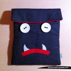 Huu is your ipad protector, ready to fight. Ipad Sleeve, Designer Toys, Soft Sculpture, Ipad Case, Lunch Box, Plush, Handmade, Hand Made, Bento Box