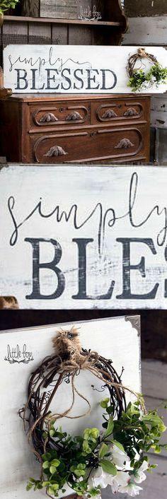 Farmhouse Decor, Simply Blessed Sign, Farmhouse Sign, Farmhouse Wood Sign, Rustic Wood Signs, Shiplap Sign #ad #affiliatelink