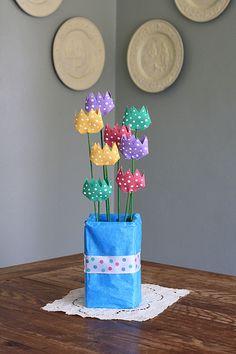 Cardboard Tube Polka Dot Tulips