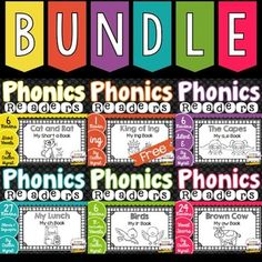 70 Phonics Readers covering short vowels, silent e, r-controlled vowels, blends and digraphs, and vowel teams Hooked On Phonics, Blends And Digraphs, Guided Reading Groups, Phonics Words, Phonics Reading, Short Vowels, One Day Sale, Reading Workshop, Word Work