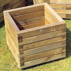 Square Wooden Planters. Love these!!! #woodenplanters