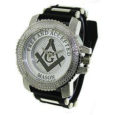 Jewelzking - Mens Iced Out Hip Hop Silver/Black Freemason Mason Masonic Bullet Band Watch #jewelzKing #Masonicwatches #Freemason #mason #hiphopjewelry #hiphopwatches #fashionwatches