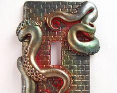 Gold Metallic Handmade Polymer Clay Steampunk Grunge Octopus Tentacles Light Switchplate