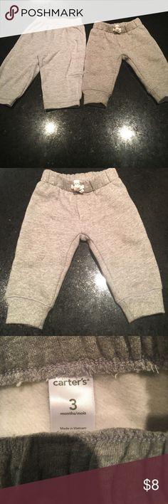 Two Pairs Grey Baby SweatPants -One pair grey baby sweatpants, cotton and rayon material. Brand: Gerber Size: 3-6 Months.                            -One pair grey baby sweatpants, cotton and Polyester material. Brand: Carter's Size: 3 Months Bottoms Sweatpants & Joggers