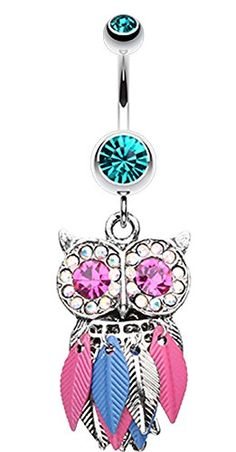 Vibrant Owl Feather Sparkle Belly Button Ring - 14 GA (1.6mm) - Teal - Sold Individually Buzz - Fashion Belly Rings http://www.amazon.com/dp/B00VO7RIDA/ref=cm_sw_r_pi_dp_SY37vb0N7Q4KT