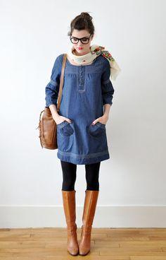 denim dress, tights, tall boots