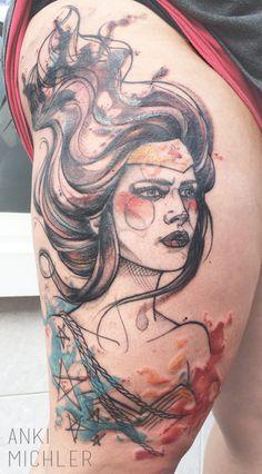 Tatouage aquarelle de Wonder Woman