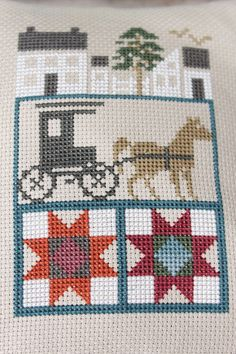 Completed Cross Stitch Primitive Amish Home Buggy by Stitchcrafts, $20.00