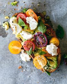 This Sourdough With Avocado, Cherry Tomatoes & Labneh recipe is featured in the Toast and Tartine along with many Sandwiches, Clean Eating Snacks, Healthy Eating, Breakfast Toast, Food Inspiration, Food Photography, Food Porn, Good Food, Easy Meals