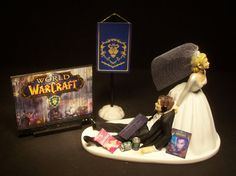 World of Warcraft w/ Alliance Tapestry GAMER Bride & Groom Funny Wedding Cake Topper Groom's Cake