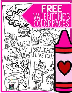 These FREE Valentine's Day coloring pages are so cute and funny. Each page features Valentines clipart, a pun or funny saying, and lots of room to color! These are the perfect handmade Valentines cards, classroom Valentines activity, and Valentines color Valentines Day Activities, Valentine Day Crafts, Valentines Baking, Valentine Theme, Valentine Ideas, Valentines Day Coloring Page, Art And Craft Videos, To Color, Groundhog Day