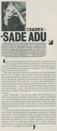Sade in The Face magazine, Feb 1983