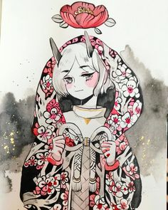 """15.9k Likes, 35 Comments - @maruti_bitamin on Instagram: """"Oni - india ink + watercolour"""""""