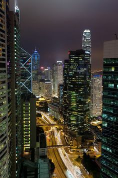 Conrad room view, Central Hong Kong at night - I fell in love with Hong Kong, such an amazing city.