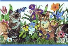 Kittens-Cats-Playing-in-the-Garden-Wallpaper-Border-CT102262