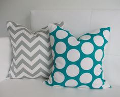 Throw Pillows - Turquoise and Gray Pillow Covers - 16x16 - Set of 2 Decorative Throw Pillow Covers. $35.00, via Etsy.