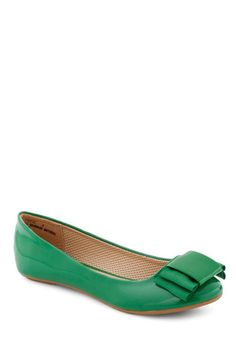 Stylish Study Break Flat in Green - Green, Solid, Bows, Flat, Casual, Faux Leather, Tis the Season Sale