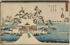 Ashmolean Advent Calendar Day 14 - Utagawa Hiroshige (1797-1858) - Snow at Benten Shrine at Inokoshira - EAX.4324 © Ashmolean Museum - Order a framed print or canvas of this image, and others, in time for Christmas at: http://www.ashmoleanprints.com/image/444121/utagawa-hiroshige-1797-1858-snow-at-benten-shrine-at-inokoshira