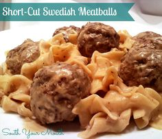 A quick and easy version of Swedish Meatballs using sour cream, cream of mushroom soup and brown gravy mix.