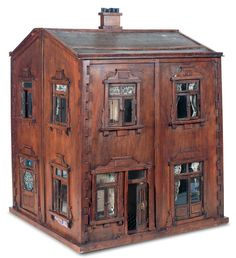 "View Catalog Item - Theriault's Antique Doll Auctions   I absolutely love this! (jt- ""The Brown House"" an English dolls house with 'rare' stained glass window. Go to site to learn more)"