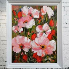 painting,oilpainting,flowers,pink flowers,meadow,wild roses,art,painting art,picture,