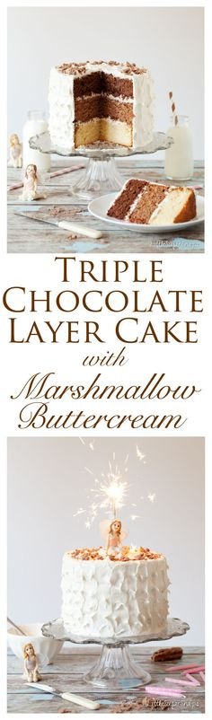 Triple Chocolate Layer Cake - layers of dark, malted milk and white chocolate sp., Desserts, Triple Chocolate Layer Cake - layers of dark, malted milk and white chocolate sponge cake topped with heavenly vanilla marshmallow buttercream frostin. Marshmallow Buttercream, Buttercream Frosting, White Buttercream, Whipped Frosting, Frosting Recipes, Cupcake Recipes, Layer Cake Recipes, Dessert Recipes, Cupcakes