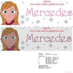 Mercedes nombre patron punto de cruz con Disney Frozen El reino del hielo…