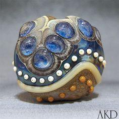 Lampwork Bead Focal Handmade Glass Lentil Bead Wicked Bluebell