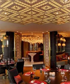 Raffles Hotel in Istanbul, Turkey designed by Hirsch Bedner Associates (HBA). Lighting design by Illuminate. For Arola restaurant, the lighting evolves throughout the day which reflects and mimics the colourful exterior views.