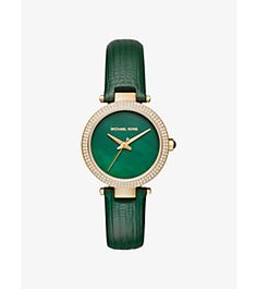 Mini Parker Pavé Gold-Tone and Leather Watch by Michael Kors