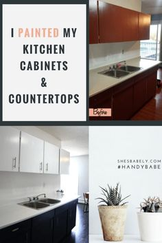 I Painted My Kitchen Cabinets and Painted The Laminate Countertops - See The Before And After Here - DIY Kitchen reno renovation countertop transformation design decor home remodel shesbabely