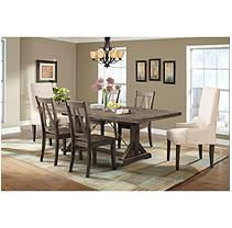Flynn Dining Table, 4 Wooden Side Chairs, & 2 Parson Chairs