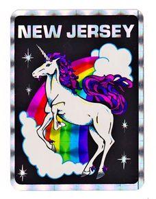 Cool retro vintage 80's prism rainbow New Jersey unicorn vending sticker!