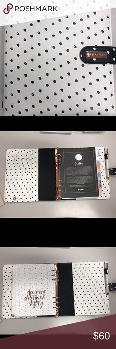 """My Prima Planner """"BREATHE"""" New! 9"""" T x 8"""" W x 1 3/4"""" H Ring Diameter: 1.5"""" Ring Spacing: 5/8"""" Paper Size: 6"""" W x 8"""" T Planner material is synthetic leather with irregular dot print pattern and detail.  Multi-clasp button closure.   INCLUDED IN THE PLANNER: Elastic Loop Pen Holder Multi Pockets/slots 6 Ring Binder Rose Gold Metal Components/Rings 12 Monthly Coloring Divider Tabs 12 Coloring Pages 12 Bonus Pattern Divider Tabs 1 Plastic Zipper Pouch 1 Dashboard Insert Weekly, Monthly pages…"""