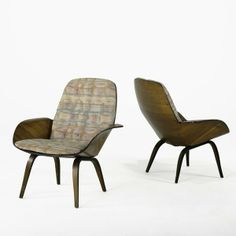 George Mulhauser; Walnut Laminate Lounge Chairs for Plycraft, 1950s.