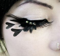 Heart of Darkness - Decadent Feather Eyelashes w/ Black Hearts and Swarovski Crystals - By Moonshine Baby. $35.00, via Etsy.
