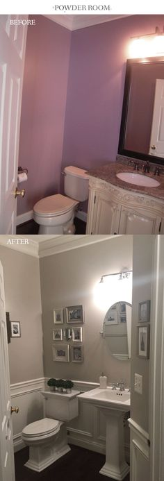 Powder room before and after wainscoting and makeover. The gray paint is Benjamin Moore Revere Pewter. - Home Decor Ideas Bathroom Renos, Bathroom Renovations, Home Renovation, Home Remodeling, Bathroom Ideas, Bathroom Makeovers, Bathroom Designs, Bathroom Faucets, Revere Pewter