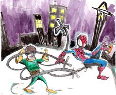 Toony Spidey & Oc... Brush & ink (w/dr.phmartin water color) warmup.  comics