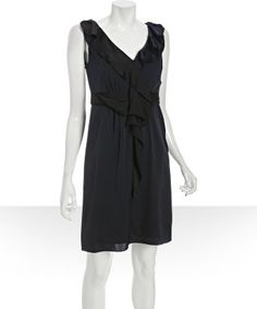 "Elie Tahari : spring navy stretch georgette 'Patrice' ruffle trim dress -- bought similar dress in black ""Lilly"" style 50% off original price at TJ Maxx today"
