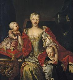 Polyxena Christina Johanna of Hessen-Rotenburg (1706-1735) and her children: Vittorio Amadeo Maria of Savoy (1726-1796) and Eleonora Maria Teresa of Savoy (1728-1781)