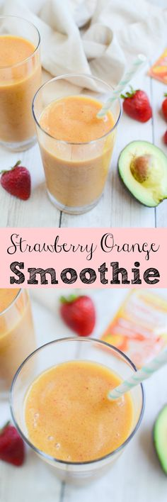 Strawberry Orange Smoothie - immune boosting and hydrating! Coconut water, strawberries, orange juice, and avocado make the most delicious smoothie!