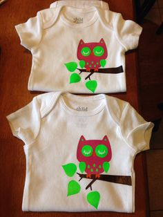 """Onesies for newborn twin girls. Used cricut cartridges """"hoot n holler"""" and """"create a critter"""". Iron on vinyl colors: brown, cheddar orange, neon green and dark pink."""