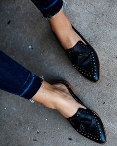 We are obsessed with this studded loafer! #loafer #mule #mules