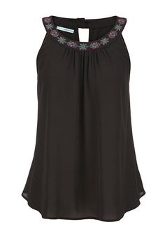 chiffon tank with embroidered neckline (original price, $29) available at #Maurices