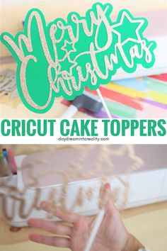 Today you are going to learn how to make the most gorgeous cake toppers with your Cricut (Maker or Explore) for any occasion. Not only will I teach you how to make them from scratch in Cricut Design Space, but I will also provide you with over SVG cak Diy Cake Topper, Rustic Cake Toppers, Birthday Cake Toppers, Diy Wedding Cake Topper, Cake Topper Tutorial, Cricut Cake, Proyectos Cricut Explore, Cricut Wedding, Cricut Craft Room
